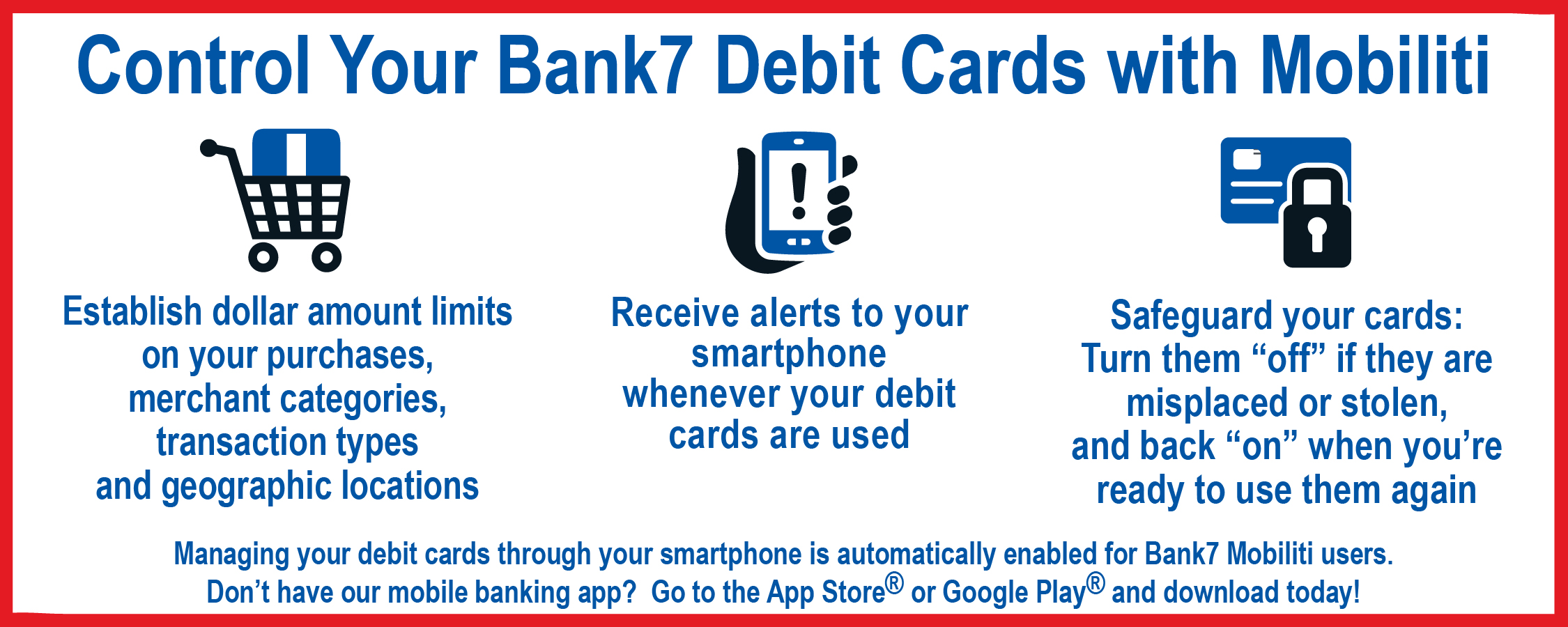 Mange your debit cards with your mobile banking app